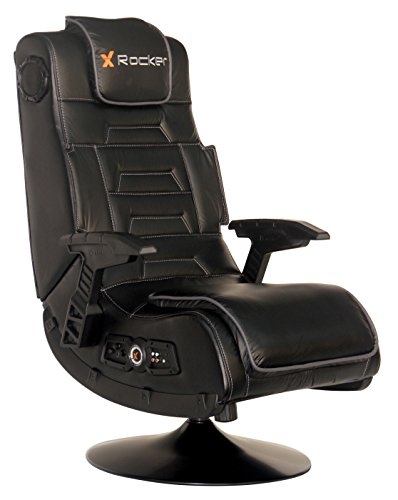 X Rocker Pro Series 2.1 Vibrating Black Leather Foldable Video Gaming Chair with Pedestal Base and...